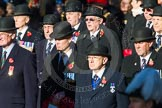 Remembrance Sunday Cenotaph March Past 2013: Waiting for the March Past to begin.. Press stand opposite the Foreign Office building, Whitehall, London SW1, London, Greater London, United Kingdom, on 10 November 2013 at 11:25, image #3