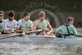 The Boat Race season 2012 - fixture CUBC vs Leander: CUBC Blue Boat: Alexander Scharp, Steve Dudek, Alex Ross, stroke Niles Garratt, and cox Ed Bosson.. River Thames between Putney and Molesey, London, Greater London, United Kingdom, on 10 March 2012 at 14:05, image #69