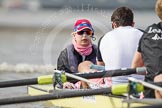 The Boat Race season 2012 - fixture CUBC vs Leander: The Leander Club Eight, cox Katie Klavenes, stroke Vasillis Ragoussis, and Cameron MacRitchie.. River Thames between Putney and Molesey, London, Greater London, United Kingdom, on 10 March 2012 at 14:07, image #74