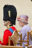 """Trooping the Colour 2010: Her Majesty the Queen, Elizabeth II, and The Prince Philip. Duke of Edinburgh, during the """"Massed Bands Troop"""", sitting in their chairs on the saluting dais.. Horse Guards Parade, Westminster, London SW1, Greater London, United Kingdom, on 12 June 2010 at 11:26, image #131"""