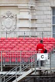 The Major General's Review 2011: Checking the grand stand on the Old Admirality Buildings side of Horse Guards Parade, early in the morning, a Sergeant of the Welsh Guards.. Horse Guards Parade, Westminster, London SW1, Greater London, United Kingdom, on 28 May 2011 at 09:03, image #5