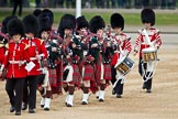 The Major General's Review 2011: The Band of the Scots Guards, with the pipers and drummers, marching onto Horse Guards Parade.. Horse Guards Parade, Westminster, London SW1, Greater London, United Kingdom, on 28 May 2011 at 10:32, image #57