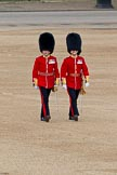 Trooping the Colour 2011: Subaltern and Ensign from the Scots Guards, crossing Horse Guards Parade from the the position of their guard towards Horse Guards Arch.. Horse Guards Parade, Westminster, London SW1, Greater London, United Kingdom, on 11 June 2011 at 09:53, image #6