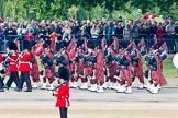 Trooping the Colour 2011: The Band of the Scots Guards, here the pipers in their Royal Stewart Tartan, marching on Horse Guards Road, before turning onto Horse Guards Parade.. Horse Guards Parade, Westminster, London SW1, Greater London, United Kingdom, on 11 June 2011 at 10:31, image #49