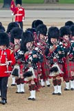 Trooping the Colour 2011: The Band of the Scots Guards, the Pipers in their Royal Stewart Tartan, marching onto Horse Guards Parade.. Horse Guards Parade, Westminster, London SW1, Greater London, United Kingdom, on 11 June 2011 at 10:31, image #51