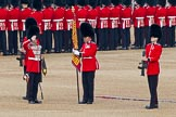 Trooping the Colour 2011: The Sergeant of the Ecort to the Colour, Colour Sergeant Chris Millin, holding the flag, whilst the two sentries present arms, and the Duty Drummer, holding the colour case, salutes.. Horse Guards Parade, Westminster, London SW1, Greater London, United Kingdom, on 11 June 2011 at 10:33, image #57