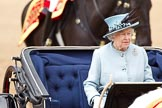 Trooping the Colour 2011: Close-up of HM The Queen in the ivory mounted phaeton during the Inspection of the Line.. Horse Guards Parade, Westminster, London SW1, Greater London, United Kingdom, on 11 June 2011 at 11:07, image #168