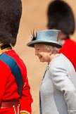 Trooping the Colour 2011: HM The Queen, back at the saluting base after the Inspection of the Line.. Horse Guards Parade, Westminster, London SW1, Greater London, United Kingdom, on 11 June 2011 at 11:08, image #172