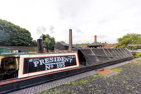 Historic narrow boat PRESIDENT, at the Black Country Living Museum in Dudley, West Midlands, UK