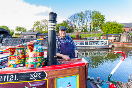 Historic narrow boat SWALLOW, with owner David Lowe, at the Black Country Living Museum in Dudley, West Midlands, UK