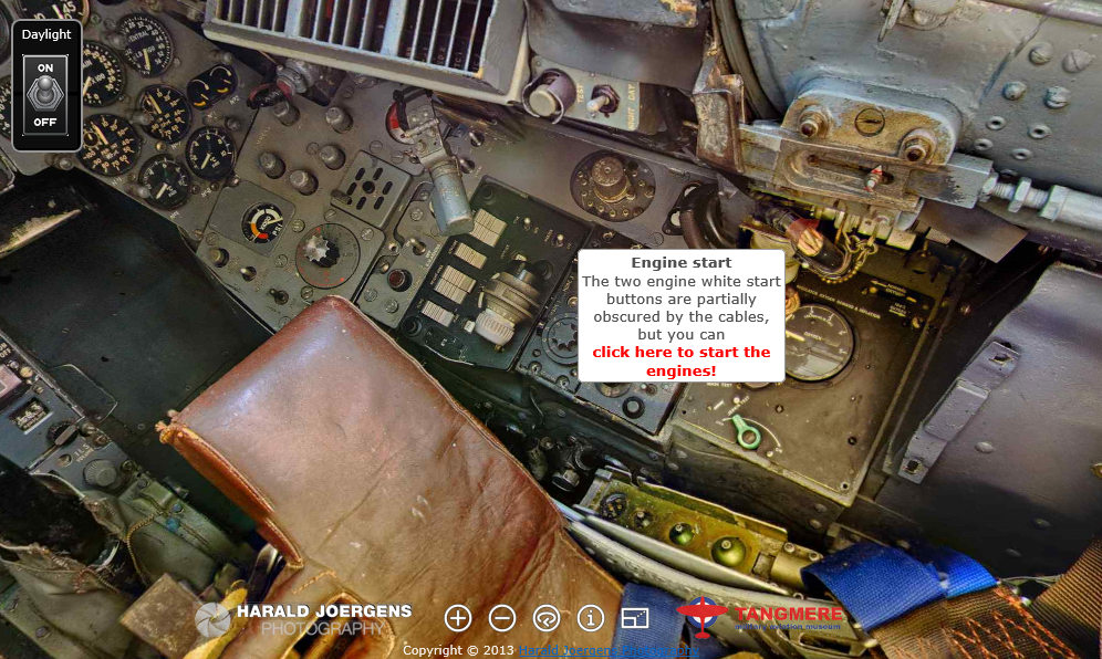 Cockpit screenshot showing the location of the