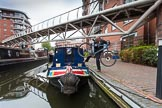 "BCN Marathon Challenge 2013: NB ""Felonious Mongoose"" still moored at Sherborne Wharf on the morning of the BCN Marathon Challenge. Skipper Charley will need the mountain bike for the many locks along the planned route.. Birmingham Canal Navigation,   United Kingdom, on 25 May 2013 at 07:26, image #13"
