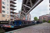 "BCN Marathon Challenge 2013: NB ""Felonious Mongoose"" reversing from the mooring at Sherborne Wharf, Oozells Street Loop, 30 minutes before the start of the BCN Challenge.. Birmingham Canal Navigation,   United Kingdom, on 25 May 2013 at 07:30, image #14"