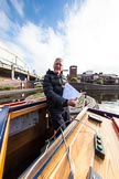 "BCN Marathon Challenge 2013: Skipper Charley on board of NB ""Felonious Mongoose"", at Old Street Junction in the centre of Birmingham, at the start of the BCN Marathon Challenge,with the list of challenges from the sealed envelope.. Birmingham Canal Navigation,   United Kingdom, on 25 May 2013 at 07:59, image #30"