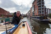 "BCN Marathon Challenge 2013: Skipper Charley on board of NB ""Felonious Mongoose"", near Ladywood Junction, with Oozells Street Loop on the right.. Birmingham Canal Navigation,   United Kingdom, on 25 May 2013 at 08:04, image #35"
