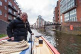 "BCN Marathon Challenge 2013: Skipper Charley on board NB ""Felonious Mongoose"", passing Ladywood Junction on the BCN Main Line, with Oozells Street Loop on the right.. Birmingham Canal Navigation,   United Kingdom, on 25 May 2013 at 08:04, image #37"