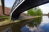 BCN Marathon Challenge 2013: Smethwick Towing Path Bridge at Smethwick Junction, a Horseley Iron Works cast iron bridge carrying the towpath from the right of the New Main Line to the left of the Old Main Line.. Birmingham Canal Navigation,   United Kingdom, on 25 May 2013 at 08:53, image #88