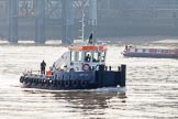 "TOW River Thames Barge Driving Race 2013: Port of London Authority (PLA) Pusher Tug ""Impulse"" in the morning of race day.. River Thames between Greenwich and Westminster, London,  United Kingdom, on 13 July 2013 at 08:53, image #6"