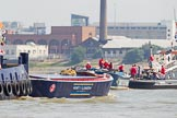 "TOW River Thames Barge Driving Race 2013: Barges ""Blackwall"", by the Port of London Authority, and ""Diana"", by Trinity Buoy Wharf, on the way to the start of the race.. River Thames between Greenwich and Westminster, London,  United Kingdom, on 13 July 2013 at 11:37, image #35"