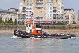 "TOW River Thames Barge Driving Race 2013: GPS Marine tug ""GPS India"" before the start of the race.. River Thames between Greenwich and Westminster, London,  United Kingdom, on 13 July 2013 at 11:46, image #39"