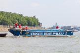 "TOW River Thames Barge Driving Race 2013: Barge ""Diana"", by Trinity Buoy Wharf, before the start of the race.. River Thames between Greenwich and Westminster, London,  United Kingdom, on 13 July 2013 at 12:03, image #46"