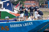 "TOW River Thames Barge Driving Race 2013: The crew on board of barge  ""Darren Lacey"", by Princess Pocahontas,  before the start of the race.. River Thames between Greenwich and Westminster, London,  United Kingdom, on 13 July 2013 at 12:21, image #68"