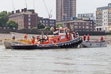"TOW River Thames Barge Driving Race 2013: Barge ""Hoppy"", by GPS Fabrication, on the left, and barge ""Spirit of Mountabatten"", by Mechanical Movements and Enabling Services Ltd, in front of GPS Marine tug ""GPS Vincia"".. River Thames between Greenwich and Westminster, London,  United Kingdom, on 13 July 2013 at 12:24, image #80"