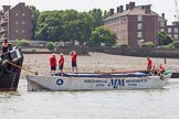 "TOW River Thames Barge Driving Race 2013: Barge ""Spirit of Mountabatten"", by Mechanical Movements and Enabling Services Ltd, with crew before the start of the race.. River Thames between Greenwich and Westminster, London,  United Kingdom, on 13 July 2013 at 12:24, image #82"