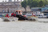 "TOW River Thames Barge Driving Race 2013: Barge ""Spirit of Mountabatten"", by Mechanical Movements and Enabling Services Ltd, on the left, and barge ""Hoppy"", by GPS Fabrication.  on the right of GPS Marine tug ""Vincia"".. River Thames between Greenwich and Westminster, London,  United Kingdom, on 13 July 2013 at 12:25, image #83"