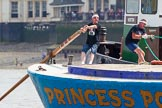 "TOW River Thames Barge Driving Race 2013: The race is on - crew member XXX steering barge ""Darren Lacey"", by Princess Pocahontas.. River Thames between Greenwich and Westminster, London,  United Kingdom, on 13 July 2013 at 12:34, image #97"