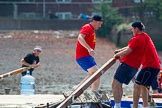 "TOW River Thames Barge Driving Race 2013: Rowers on the deck of barge ""Jane"", by the RMT Union, during the race.. River Thames between Greenwich and Westminster, London,  United Kingdom, on 13 July 2013 at 12:36, image #122"