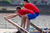 "TOW River Thames Barge Driving Race 2013: Rowers on the deck of barge ""Jane"", by the RMT Union, during the race.. River Thames between Greenwich and Westminster, London,  United Kingdom, on 13 July 2013 at 12:37, image #128"