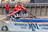 "TOW River Thames Barge Driving Race 2013: Rowers on the deck of of barge ""Spirit of Mountabatten"", by Mechanical Movements and Enabling Services Ltd.. River Thames between Greenwich and Westminster, London,  United Kingdom, on 13 July 2013 at 12:43, image #186"