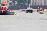 "TOW River Thames Barge Driving Race 2013: On the left barge ""Benjamin"", by London Party Boats, followed by GPS Marine tug ""GPS India"", on the right barge ""Shell Bay"" by South Dock Marina.. River Thames between Greenwich and Westminster, London,  United Kingdom, on 13 July 2013 at 12:45, image #196"