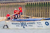 "TOW River Thames Barge Driving Race 2013: Barge ""Spirit of Mountabatten"", by Mechanical Movements and Enabling Services Ltd, during the race.. River Thames between Greenwich and Westminster, London,  United Kingdom, on 13 July 2013 at 12:47, image #205"