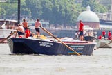 "TOW River Thames Barge Driving Race 2013: Barge ""Blackwall"", by the Port of London Authority, at the start of the race.. River Thames between Greenwich and Westminster, London,  United Kingdom, on 13 July 2013 at 12:49, image #228"