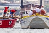 "TOW River Thames Barge Driving Race 2013: Barge ""Jane"", by the RMT Union, on the left, getting too close to barge ""Hoppy"", by GPS Fabrication.. River Thames between Greenwich and Westminster, London,  United Kingdom, on 13 July 2013 at 12:50, image #232"