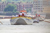 "TOW River Thames Barge Driving Race 2013: Barge ""Hoppy"", by GPS Fabrication. Some distance behind barge ""Shell Bay"" by South Dock Marina.. River Thames between Greenwich and Westminster, London,  United Kingdom, on 13 July 2013 at 12:50, image #233"