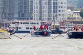 "TOW River Thames Barge Driving Race 2013: Barge ""Hoppy"", by GPS Fabrication, on the left. In the centre barge ""Benjamin"", by London Party Boats, on the right barge ""Blackwall"", by the Port of London Authority.. River Thames between Greenwich and Westminster, London,  United Kingdom, on 13 July 2013 at 12:51, image #234"
