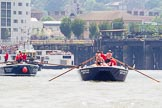 "TOW River Thames Barge Driving Race 2013: Barge ""Blackwall"", by the Port of London Authority. On the left barge ""Benjamin"", by London Party Boats.. River Thames between Greenwich and Westminster, London,  United Kingdom, on 13 July 2013 at 12:51, image #236"