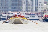 "TOW River Thames Barge Driving Race 2013: Barge ""Hoppy"", by GPS Fabrication. On the right barge ""Benjamin"", by London Party Boats.. River Thames between Greenwich and Westminster, London,  United Kingdom, on 13 July 2013 at 12:51, image #237"