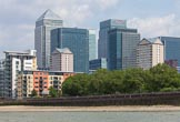 TOW River Thames Barge Driving Race 2013: Skyscapers at Canary Wharf, seen from the river.. River Thames between Greenwich and Westminster, London,  United Kingdom, on 13 July 2013 at 12:54, image #239