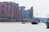 "TOW River Thames Barge Driving Race 2013: Barge ""Diana"", by Trinity Buoy Wharf.. River Thames between Greenwich and Westminster, London,  United Kingdom, on 13 July 2013 at 12:58, image #251"