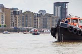 "TOW River Thames Barge Driving Race 2013: Barge ""Benjamin"", by London Party Boats, followed by barge ""Spirit of Mountabatten"", by Mechanical Movements and Enabling Services Ltd. On the right GPS Marine tug ""GPS Vincia"".. River Thames between Greenwich and Westminster, London,  United Kingdom, on 13 July 2013 at 13:11, image #286"