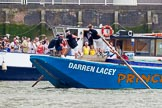 "TOW River Thames Barge Driving Race 2013: Barge ""Darren Lacey"", by Princess Pocahontas.. River Thames between Greenwich and Westminster, London,  United Kingdom, on 13 July 2013 at 13:13, image #288"