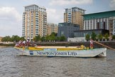 "TOW River Thames Barge Driving Race 2013: Barge ""Hoppy"", by GPS Fabrication, in front of the Virgin Active Heaalth Club at West Ferry Circus, Canary Wharf.. River Thames between Greenwich and Westminster, London,  United Kingdom, on 13 July 2013 at 13:15, image #297"