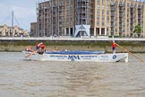 "TOW River Thames Barge Driving Race 2013: Barge ""Spirit of Mountabatten"", by Mechanical Movements and Enabling Services Ltd, near Limehouse Basin.. River Thames between Greenwich and Westminster, London,  United Kingdom, on 13 July 2013 at 13:16, image #303"