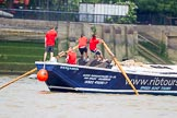 """TOW River Thames Barge Driving Race 2013: Barge """"Benjamin"""", by London Party Boats, during the race.. River Thames between Greenwich and Westminster, London,  United Kingdom, on 13 July 2013 at 13:27, image #347"""