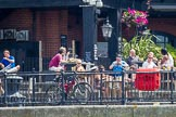 TOW River Thames Barge Driving Race 2013: The Old Salt Quay pub at Rotherhithe Street, London SE16, seen from the river.. River Thames between Greenwich and Westminster, London,  United Kingdom, on 13 July 2013 at 13:27, image #349