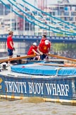 """TOW River Thames Barge Driving Race 2013: Barge """"Diana"""", by Trinity Buoy Wharf, approaching Tower Bridge.. River Thames between Greenwich and Westminster, London,  United Kingdom, on 13 July 2013 at 13:34, image #365"""